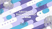 Abstract geometric background. Dynamic shapes composition. Simple modern design. Futuristic banner, poster, flyer, cover template. Flat style vector eps10 illustration. Purple and blue color.