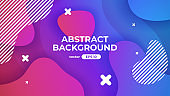 Abstract geometric background. Dynamic shapes composition. Simple modern design. Futuristic banner, poster, flyer, cover template. Flat style vector eps10 illustration. Blue and pink color.
