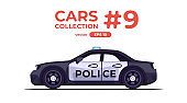 Police car isolated on white background. Flat style eps10 illustration. Vehicle set. Side view. Simple modern design. Icons collection. Black and white color.