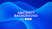Abstract wave background. Dynamic geometric shapes composition. Simple modern design. Futuristic banner, poster, flyer, cover template. Flat style vector eps10 illustration. Blue and white color.