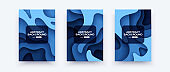 Abstract paper cut covers. Vertical banners, brochures, posters. Water waves template. Simple realistic design. Beautiful background. Flat style vector eps10 illustration. Blue color.