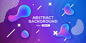 Abstract background with fluid drops. Dynamic liquid shapes composition. Simple modern design. Futuristic banner, poster, flyer template. Flat style vector eps10 illustration. Blue and pink color.
