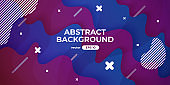 Abstract wave background. Dynamic geometric shapes composition. Simple modern design. Futuristic banner, poster, flyer template. Flat style vector eps10 illustration. Blue and pink color gradient.