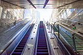 Escalators for import and export of Guangzhou metro station, China