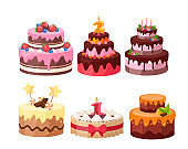Tiered cakes colorful flat vector illustrations set
