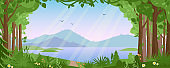 Mountain landscape with summer forest vector illustration, cartoon flat countryside beautiful nature with green trees, river lake water, silhouettes of mountains background