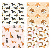 Dog pets seamless pattern vector illustrations, cartoon cute flat animal background set with black brown doggy or funny puppy face design for decoration, wrapping paper