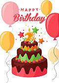 Happy birthday greeting card colorful vector template