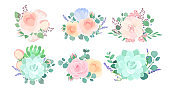 Flowers composition colorful flat vector illustrations set