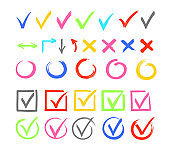 Check marks color vector illustrations set. Cross and arrow isolated design elements pack. Agree and disagree symbols bundle. Tick in voting checkboxes, questionnaire options collection.
