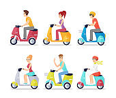 People on scooters flat vector illustrations set. Cheerful men and women in casual clothing riding mopeds cartoon characters. Happy young adults with urban transport isolated on white background.