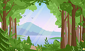 Forest landscape flat vector illustration. Woodland scenery, wildlife panorama, lake and mountains, hilly terrain scene. Nature, summertime, rural landscape, green valley panoramic view.