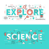 Explore science word abstract thin line vector illustration set with innovation idea symbols, scientific exploring laboratory tech equipment