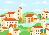 Town houses architecture colorful flat vector illustration