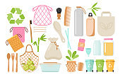 Zero waste and eco friendly items flat vector illustrations set