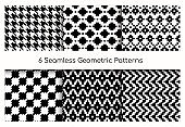 Seamless geometric pattern vector illustration set, collection of modern stylish ornate abstract black and white texture geometry, repeating geometric ornament