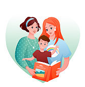 Lesbian family vector illustration, cartoon flat happy loving two mother characters with kid boy reading book together concept isolated on white