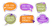Did you know speech bubble colorful labels set