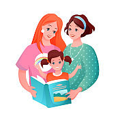 Lesbian family with kid vector illustration, cartoon flat happy loving woman parent characters and girl child reading book together
