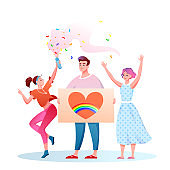 LGBT pride parade vector illustration, cartoon flat happy homosexual transgender people with LGBT rainbow flag have fun on festival parade