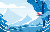 Wintertime scenery flat vector illustration. Lonely bird watching snow capped mountains. Minimalist cold season landscape with snowy valleys and fir trees. Red songbird in winter forest.