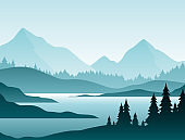 Forest foggy landscape flat vector illustration. Nature scenery with fir trees and hill peaks silhouettes on horizon. Mountain valley and river in early morning scene cartoon background.