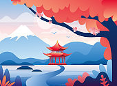 Japanese red castle and snowy Fuji mountain peak illustration