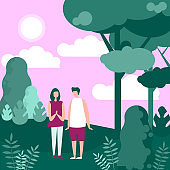 Couple people in nature walk vector illustration, cartoon flat adult characters spending time together, walking in evening natural forest background