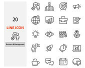 set of business icons, management, planning, company, organization, start up