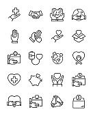 set of charity thin line icons, volunteer, donation, love, help