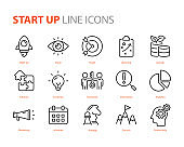 set of startup icons, business, work, success