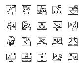 set of online meeting icon, work form home, work, social distancing, video conference, content creator