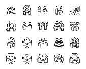 set of meeting icons, people, team, teamwork, business