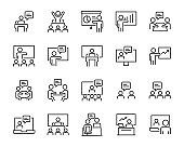 set of  meeting icons, presentation, seminar, training, classroom,