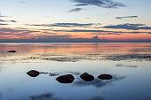 Summer morning landscape of Ladoga lake