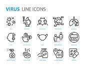 set of virus icons, ill, flu, coronavirus, sickness