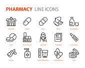 set of medicine icons, pharmacy, medical, capsule, drug store