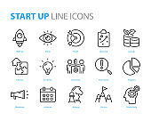set of star up icons, business, work, success