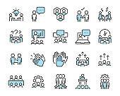 set of teamwork icons, business, team, people