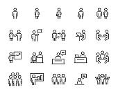 set of business people icons, team, meeting, working