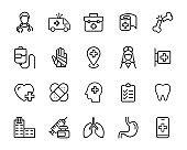 set of hospital icons, medicine, doctor, clinic, virus, disease