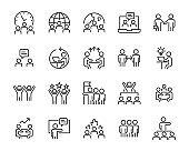 set of teamwork icons, work, training, leader, people, meeting
