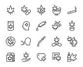 set of cannabis icons, oil extract, cannabis therapy, medicine