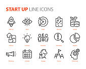 set of start up icons, business, marketing, strategy, planning