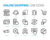 set of online shopping icons, online mobile shopping, buy, payment
