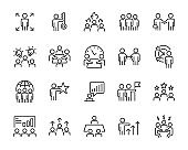 set of business icons, teamwork, working, meeting, management
