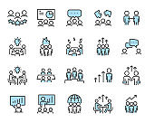 set of teamwork icons, meeting, group, working, training