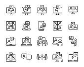 set of online meeting icons, content creator, video conference, zoom