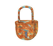 Watercolor old rusty lock illustration. Hand drawn abandoned vintage element isolated on white background for cards, decoration, print
