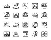 set of online meeting icons, working, video conference, content creator
